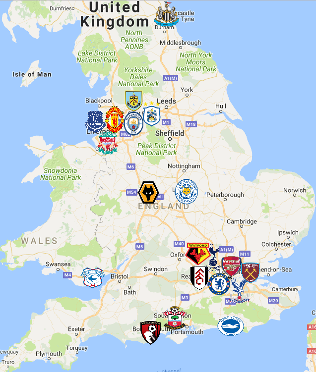 2018 Premier League Map England