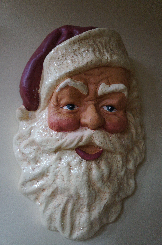 Paper Mache Santa Mask Ready to Paint