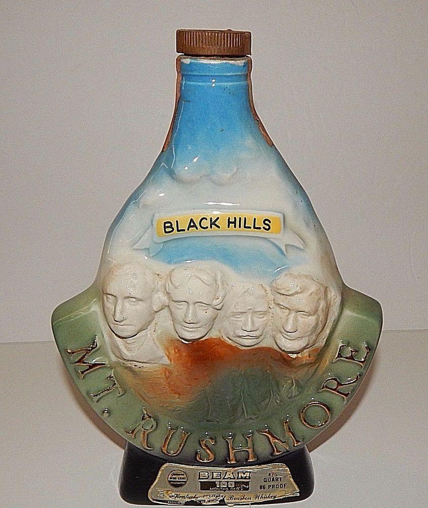 Mt Rushmore Black Hills Jim Beam Whiskey Decanter Vintage 1969 Liqueur Bottle Jimbeam Jim Beam Whiskey Decanter Whiskey Bottle
