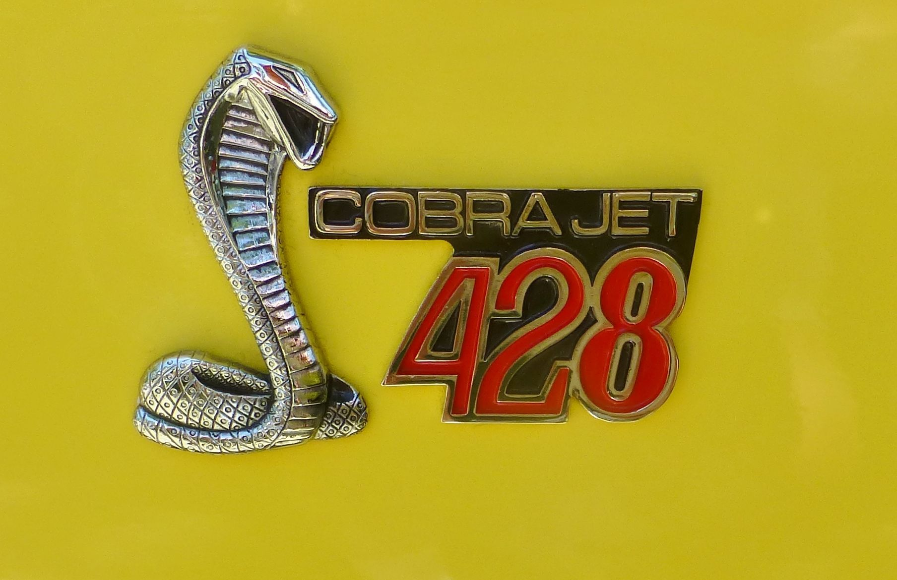 1968 Ford Cobra Jet 428 badge. Photography by David E. Nelson, 2017 ...