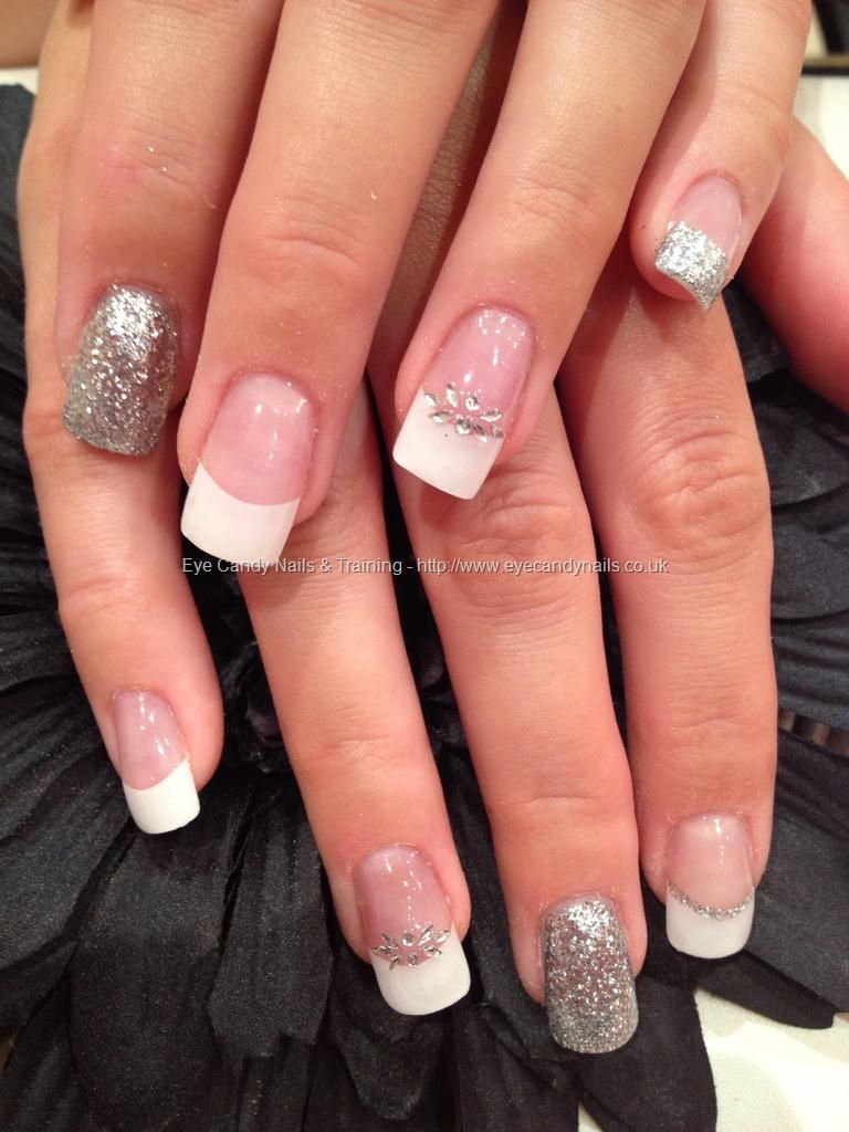 White tips with acrylic overlays and silver and crystal freehand white tips with acrylic overlays and silver and crystal freehand nail art prinsesfo Images