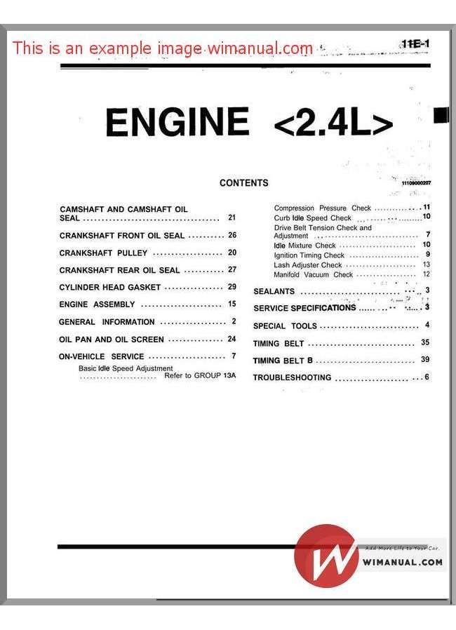 Mitsubishi 4g64 Engine 2 4l Service Manual Engineering