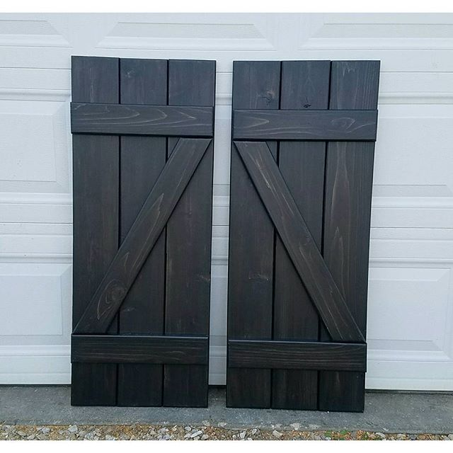 1 Set Of Black Stained Z Shutters Going To Texas Wood Shutters Diy Black Wood Stain Wood Shutters