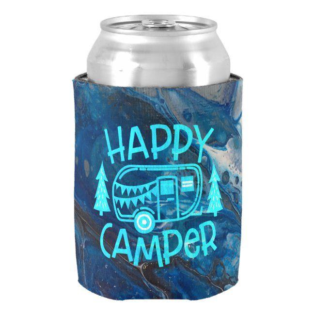 Happy Camper RV Travel Wanderlust Camping Can Cooler #happy #camper #rv #life #wanderlust #CanCooler #summer #beach