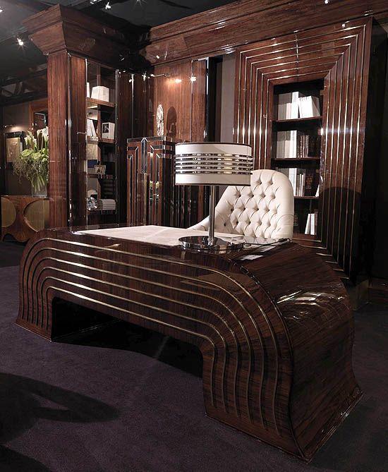 Art Deco Streamline Moderne Office With Presidential Walnut Desk
