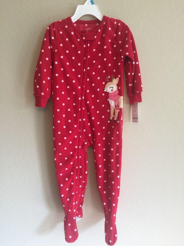 b511234c87f6 Carter s 24 Months Pajamas Reindeer Red Fleece Footie Pajamas Unisex ...