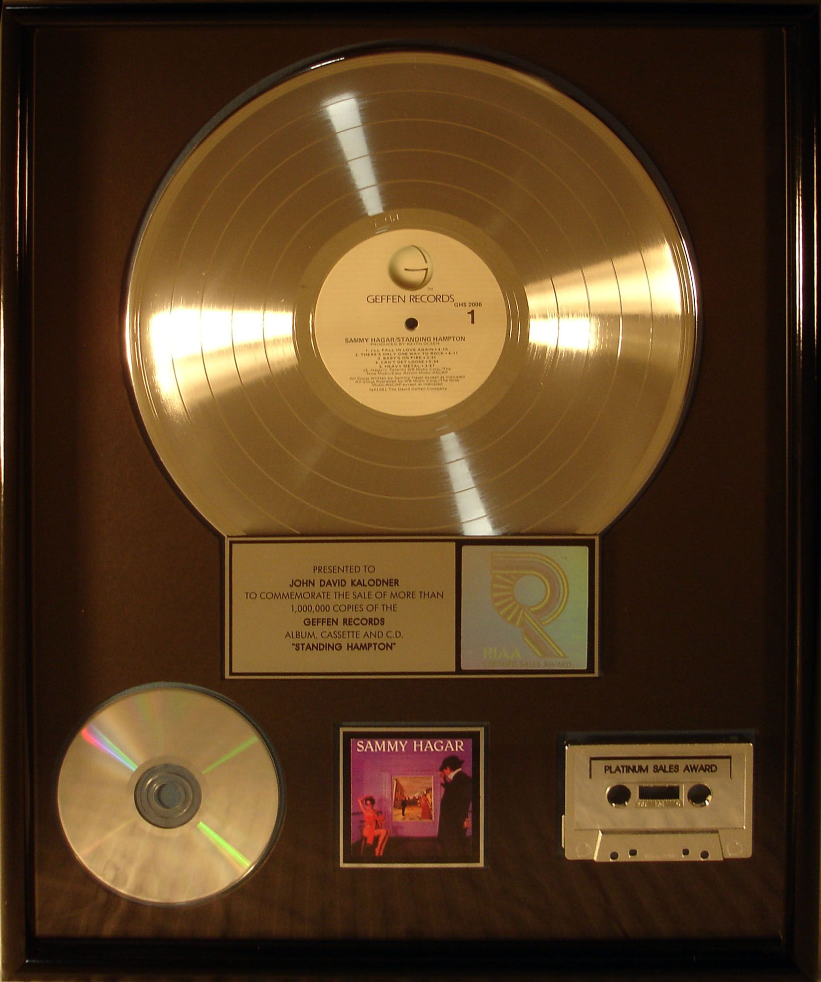 Platinum Record Award Presented To Jdk For Sammy Hagar S Album Standing Hampton Records Recording Artists Music Record