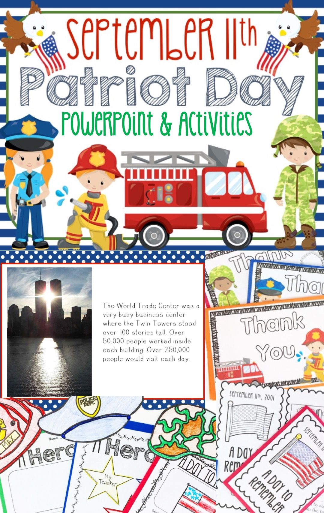 September 11th Patriot Day Power Point Lesson Activities Pack September 11 Patriots Day Activities Patriots Day First Grade Lessons