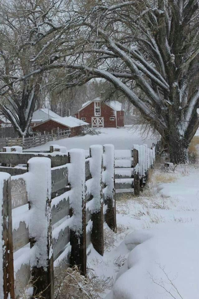 Snowy Barn And Fence, Via My Farmhouse Love