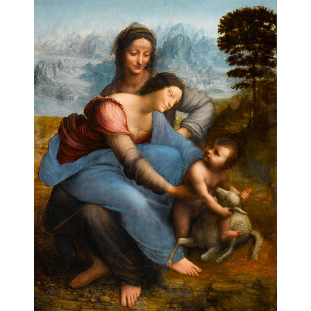 The Virgin and Child with Saint Anne is an oil painting by Leonardo ...