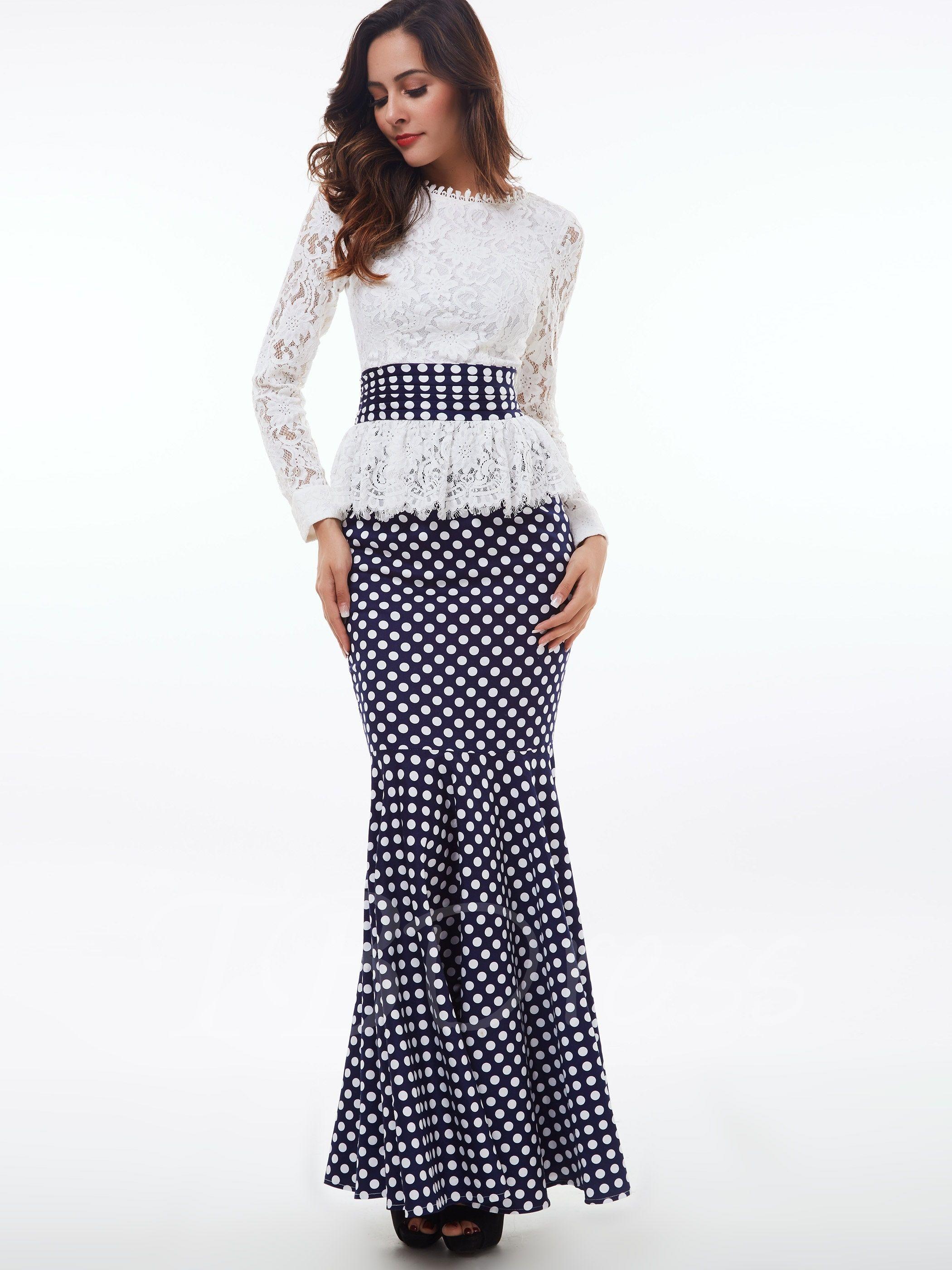 Falbala Stand Collar Lace Polka Dots Women's Maxi Dress