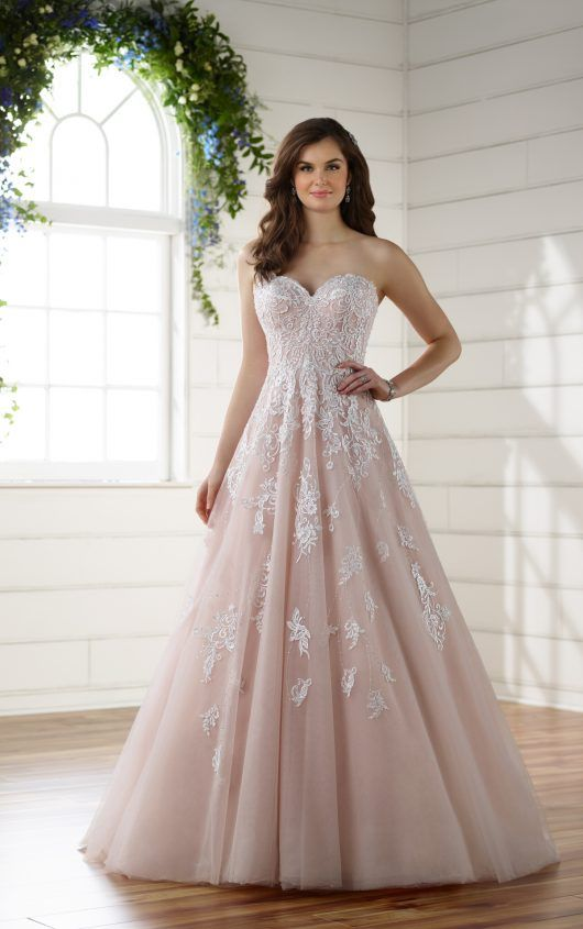 Soft And Romantic Tulle A Line With Lace Detail