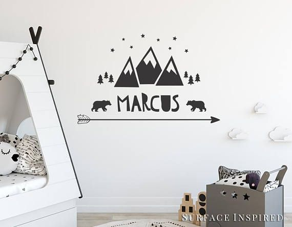 Wall Decal Kids Mountain With Name Decals Nursery Personalized Scandinavian Arrow Stars Bears Trees Mountains Included
