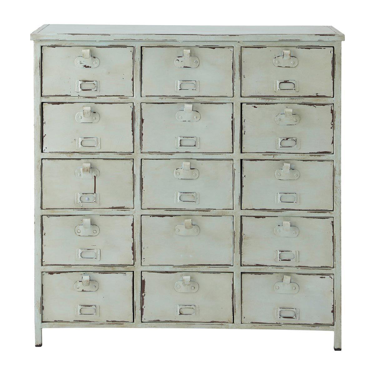 Commode cabinet indus bleu vintage Edison Déco chambre Enfant