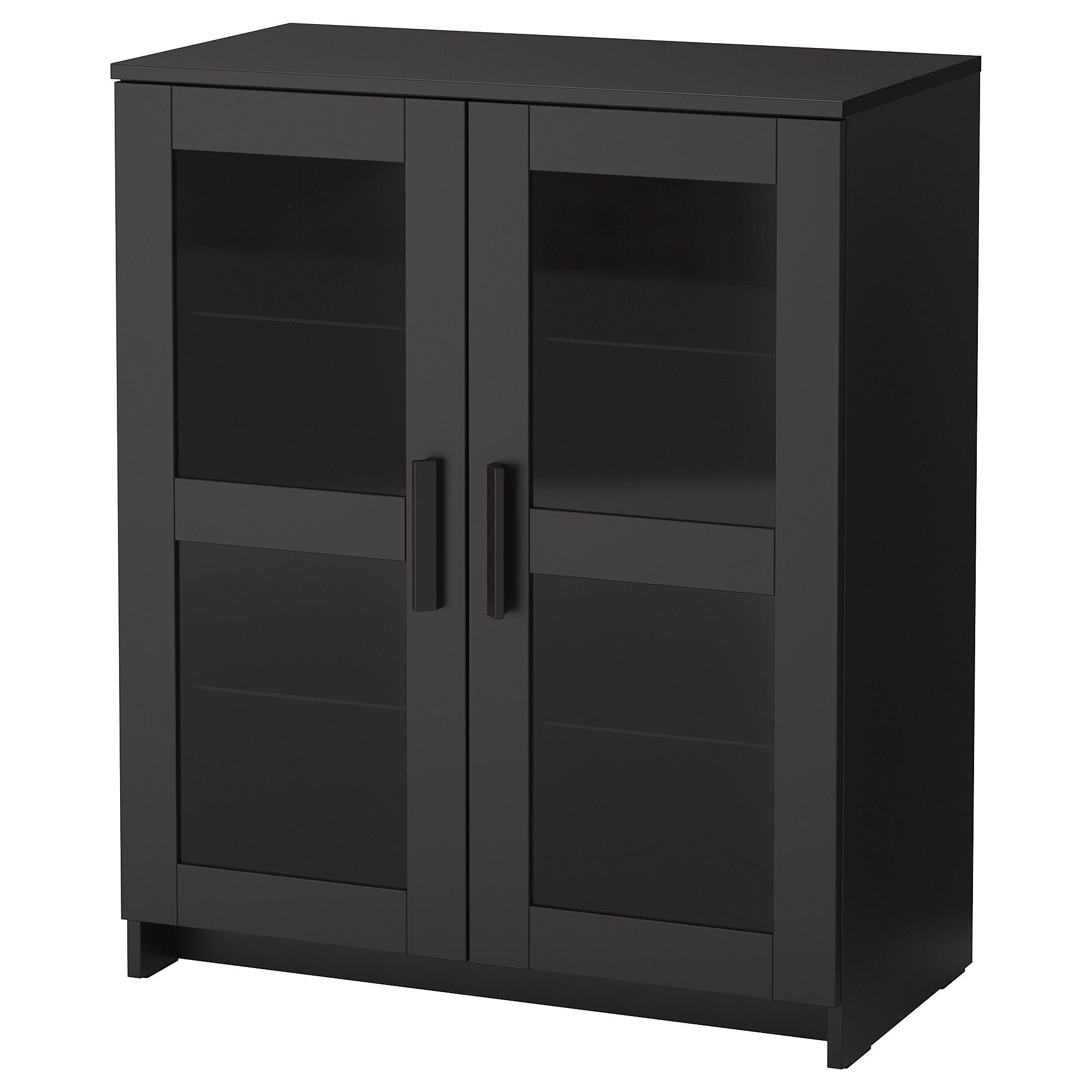 Brimnes Cabinet With Doors Glass Black 78x95 Cm Glass Cabinet Doors Cabinet Doors Ikea