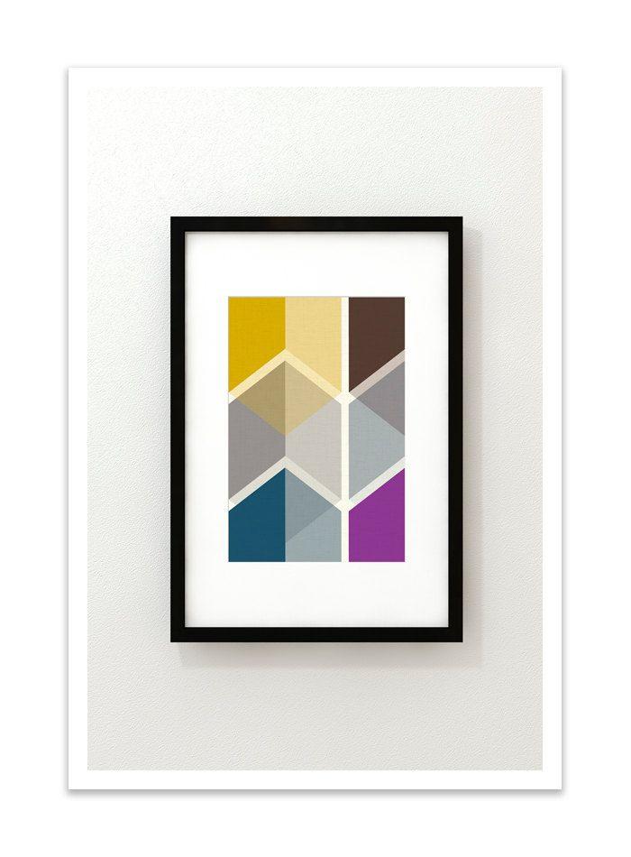 CUBI VIGNETTE no.4 - Giclee Print - Mid Century Modern Danish Modern Minimalist Cube Modernist Eames Abstract. $24.00, via Etsy.