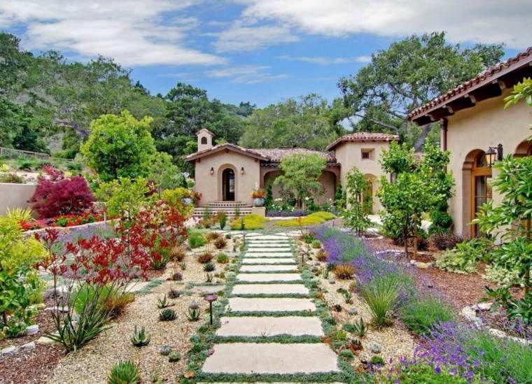 idée de jardin moderne et allée de jardin en pierre | Jardin ...