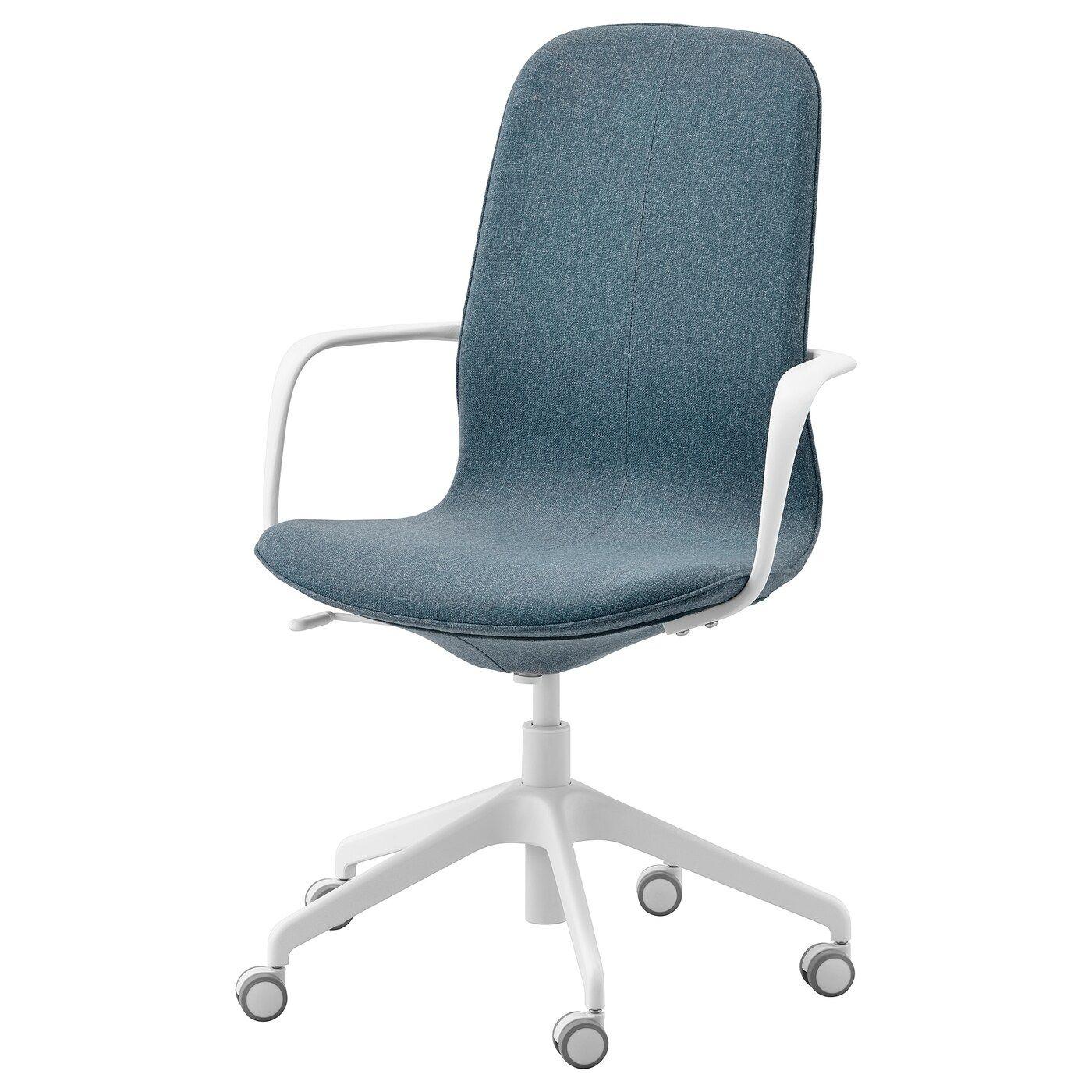 LÅNGFJÄLL Bureaustoel met armleuningen, Gunnared blauw. Bestel