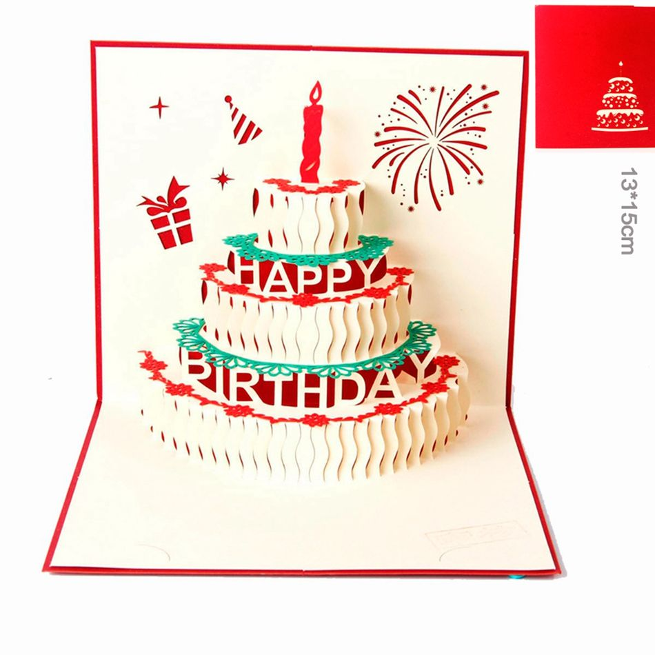 D pop up handmade laser cut vintage cards birthday cake with candle