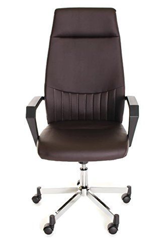 Timeoffice Ergonomic High Back Task Office Chair With Arms Pu Brown Leather Executive Swivel Best Computer For Upper Lower