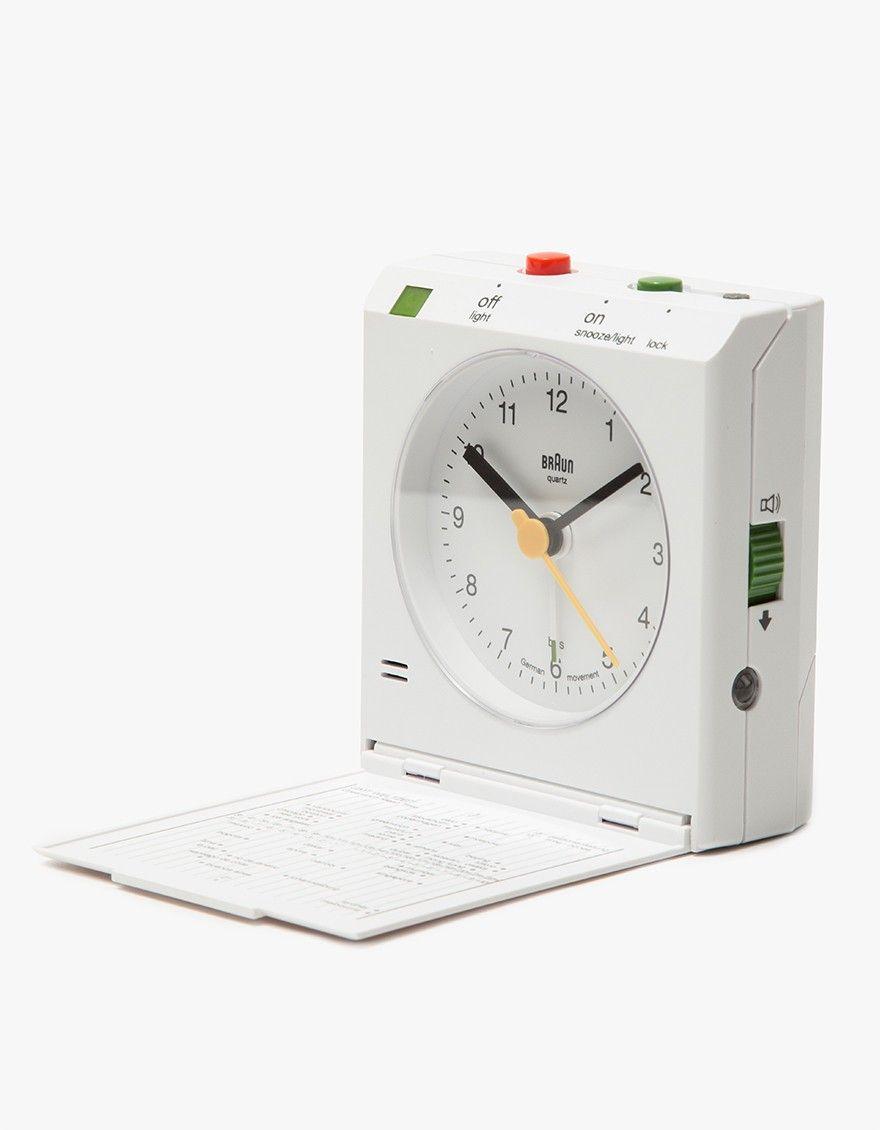 Braun Bnc005 Travel Alarm Clock In White Travel Alarm Clock Alarm Clock Clock