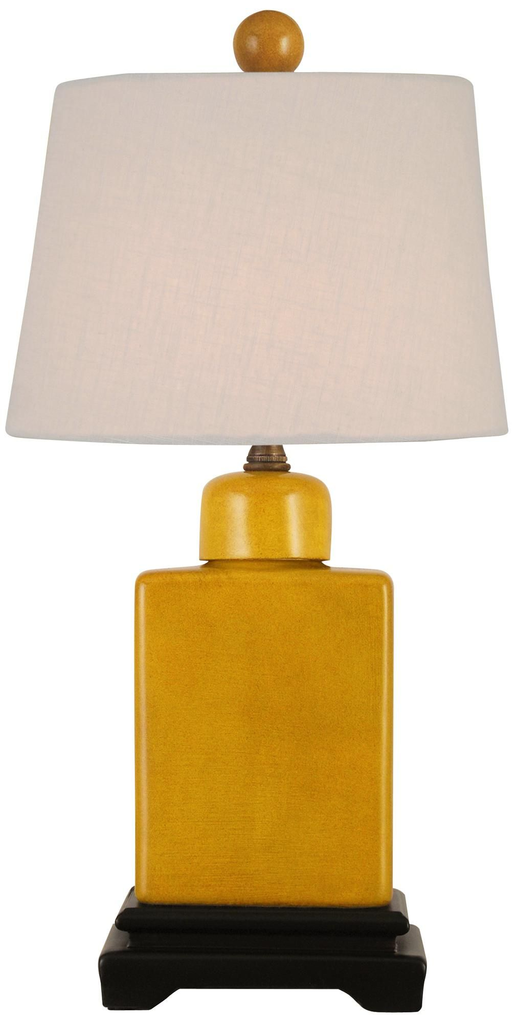 Mustard Yellow With Off White Shade Porcelain Table Lamp