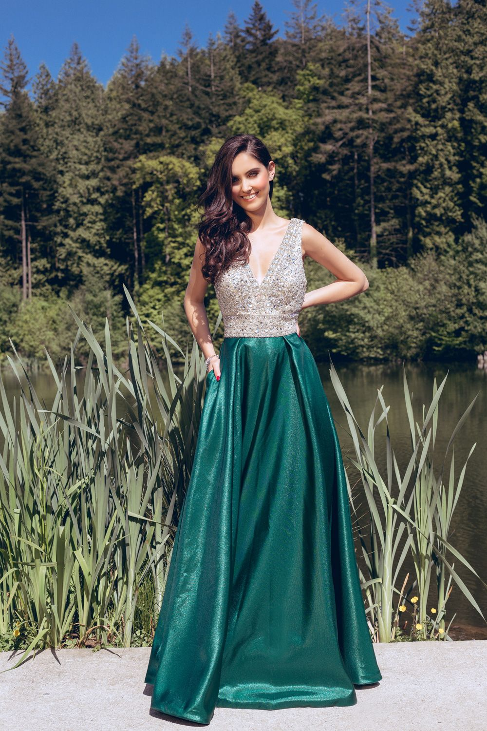 This low v cut emerald ball gown is one of our red carpet pieces ...
