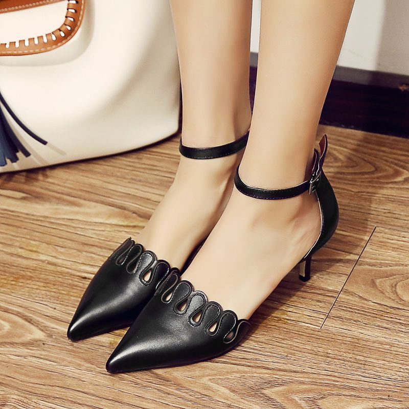 Sexy Womens Pointy Toe Ankle Strap Fashion Slim Heels Hollow Out Date Chic Shoes