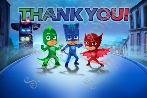Pj Masks Birthday Party Invitation With Thank You Card Included