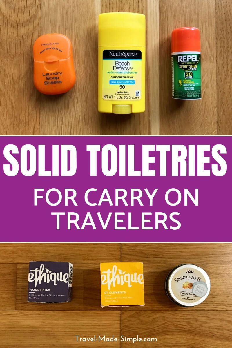 Liquids restrictions can put a damper on your efforts to travel carry-on only. But there are tons of solid non-liquid options to help make it easier. Solid perfume, solid shampoo, even solid sunscreen and solid bug repellent are great alternatives to the liquid versions. packing tips | pack carry-on only | flying carry-on only | non-liquid toiletries | carry on toiletries #traveltoiletries #packing #traveltips #travelhacks #toiletries