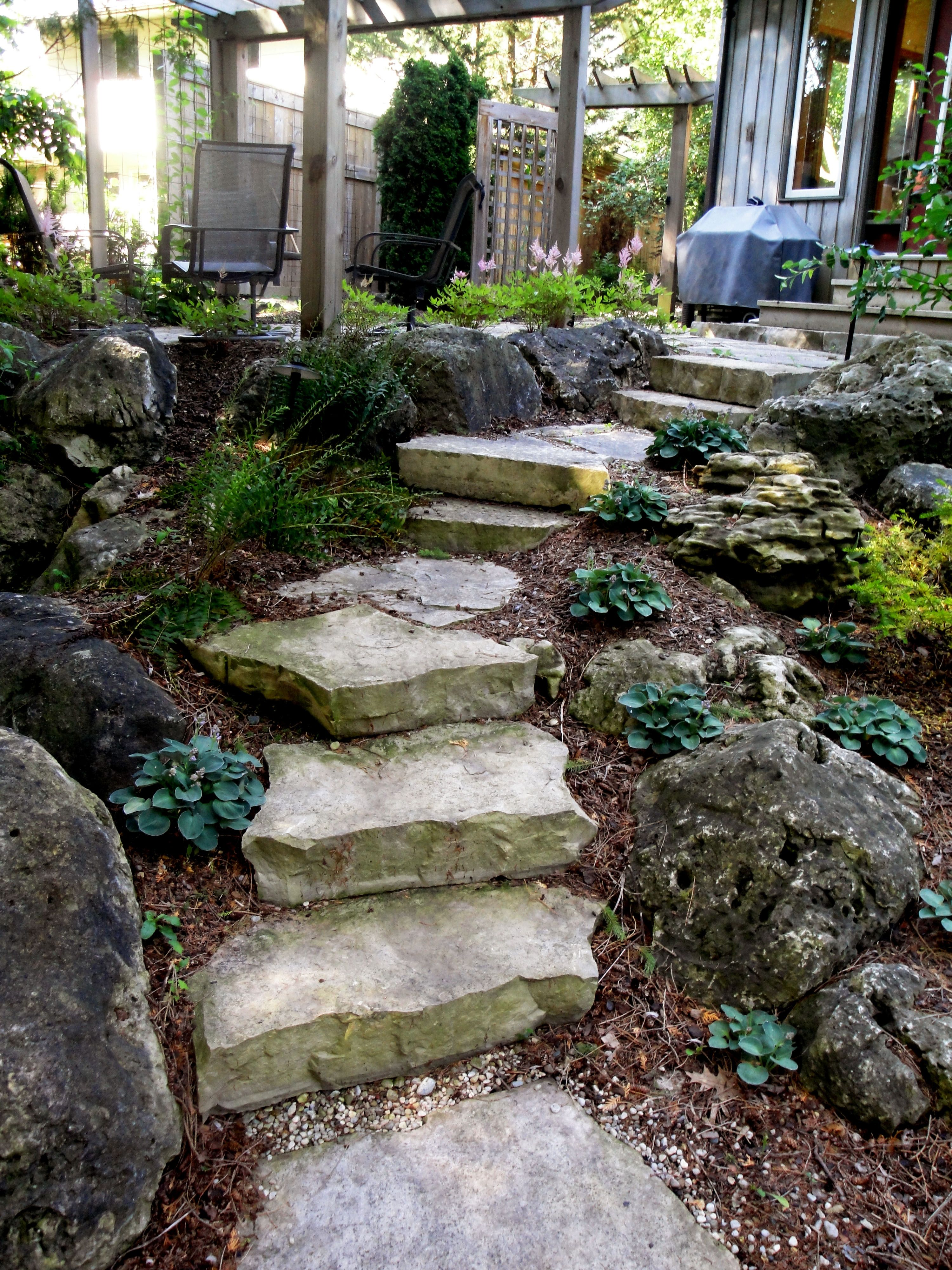 Natural Rock Stepping Stones Connecting From One Outdoor Spaces To The Next Stone Landscaping Landscape Services Landscape