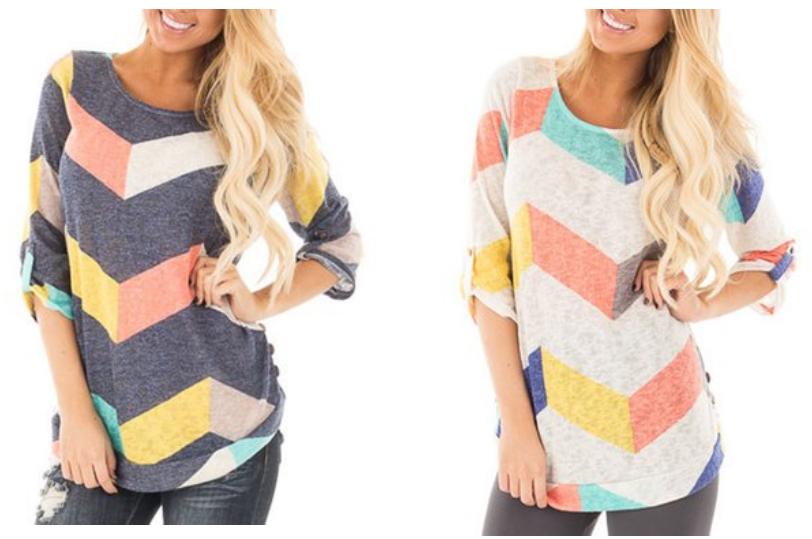 ZESICA Women's three-quarter Sleeve Multi Color Chevron Stripes Tunic Casual Blouse Tops