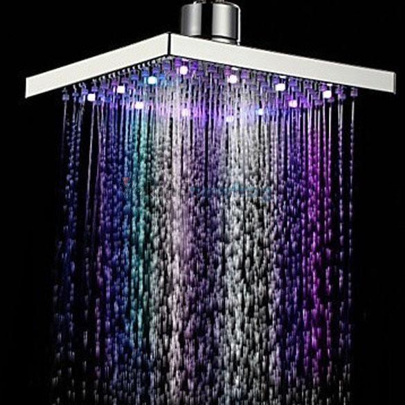 Juno Luxury Brushed 20 40 Large Led Rain Shower Head With Images
