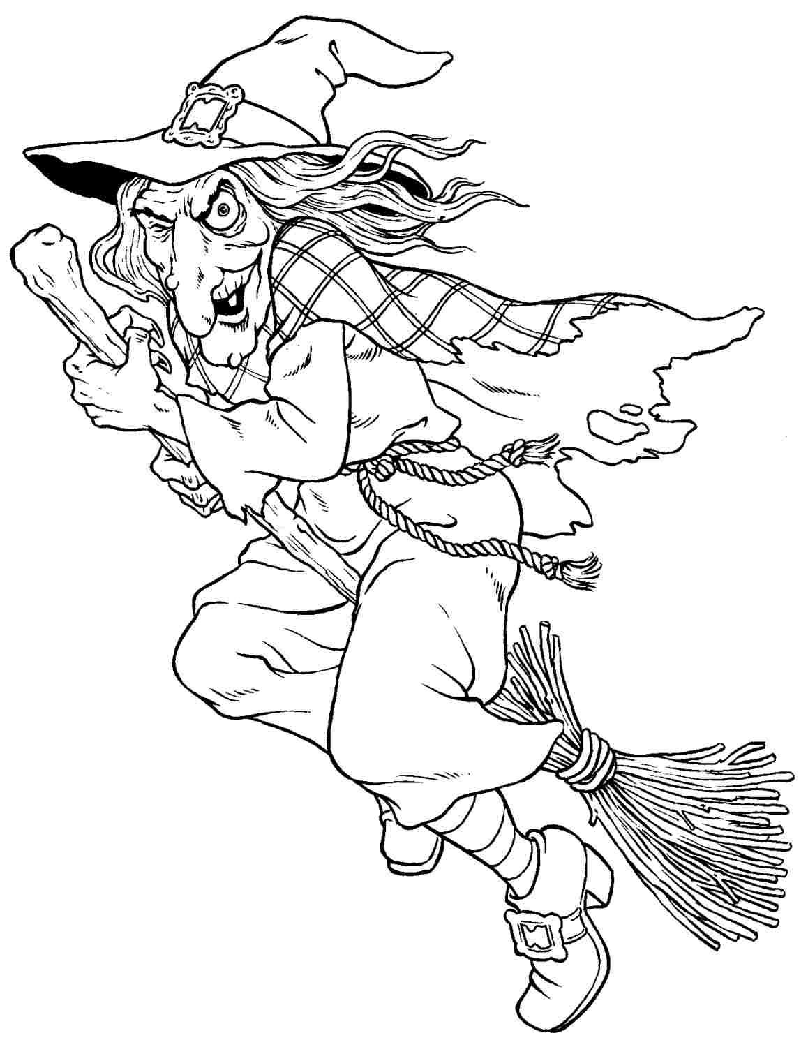 witches colouring pages Free Halloween Witch Colouring