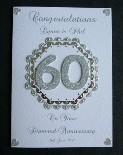 Handmade Personalised Diamond 60th Wedding Anniversary Card