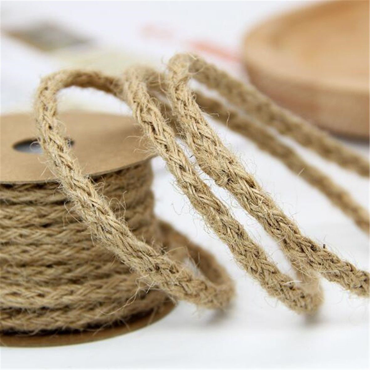 1 Roll 10M Jute Burlap Braided String Hessian Ribbon Rope Wedding Party Craft