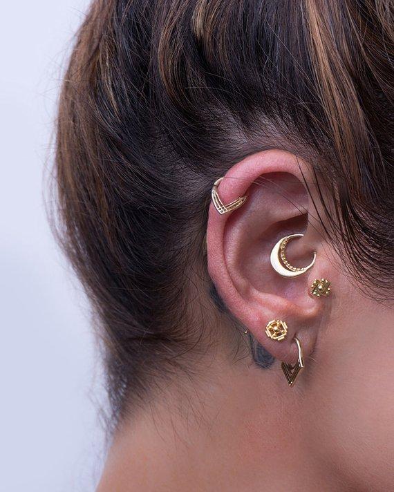 Piercing Set Daith Earring Cartilage Jewelry Tragus Etsy Unique Ear Piercings Daith Earrings Tragus Earrings