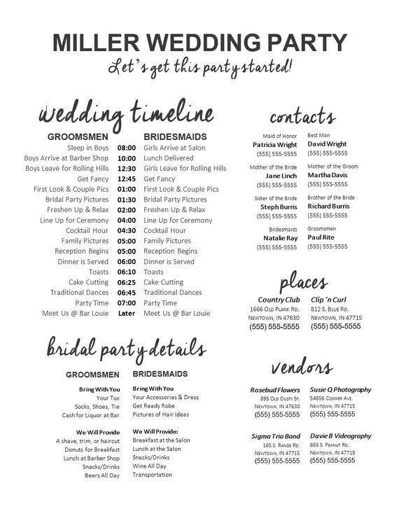 Fully-Editable  Wedding Timeline  Edit in Word  Phone | Etsy