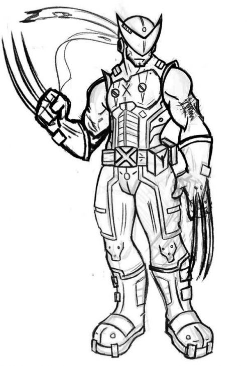 Wolverine Looks Like A Robot Coloring Page Superheroes