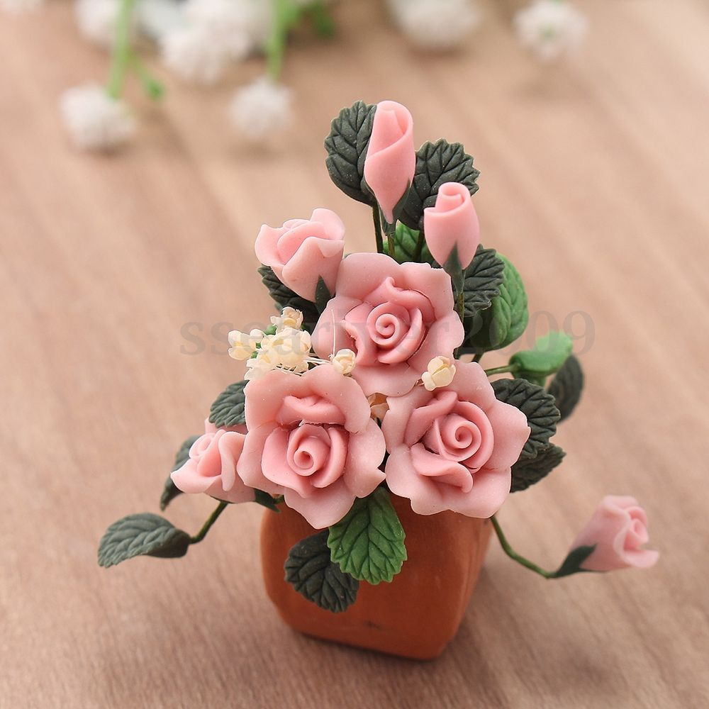 Spielzeug Dollhouse Miniature Pink Roses Rose Bush In Pot Potted Flowers Cute Decoration Triadecont Com Br
