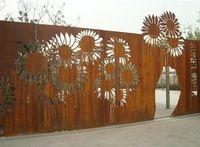 landscape garden metal trellis in natural rust color