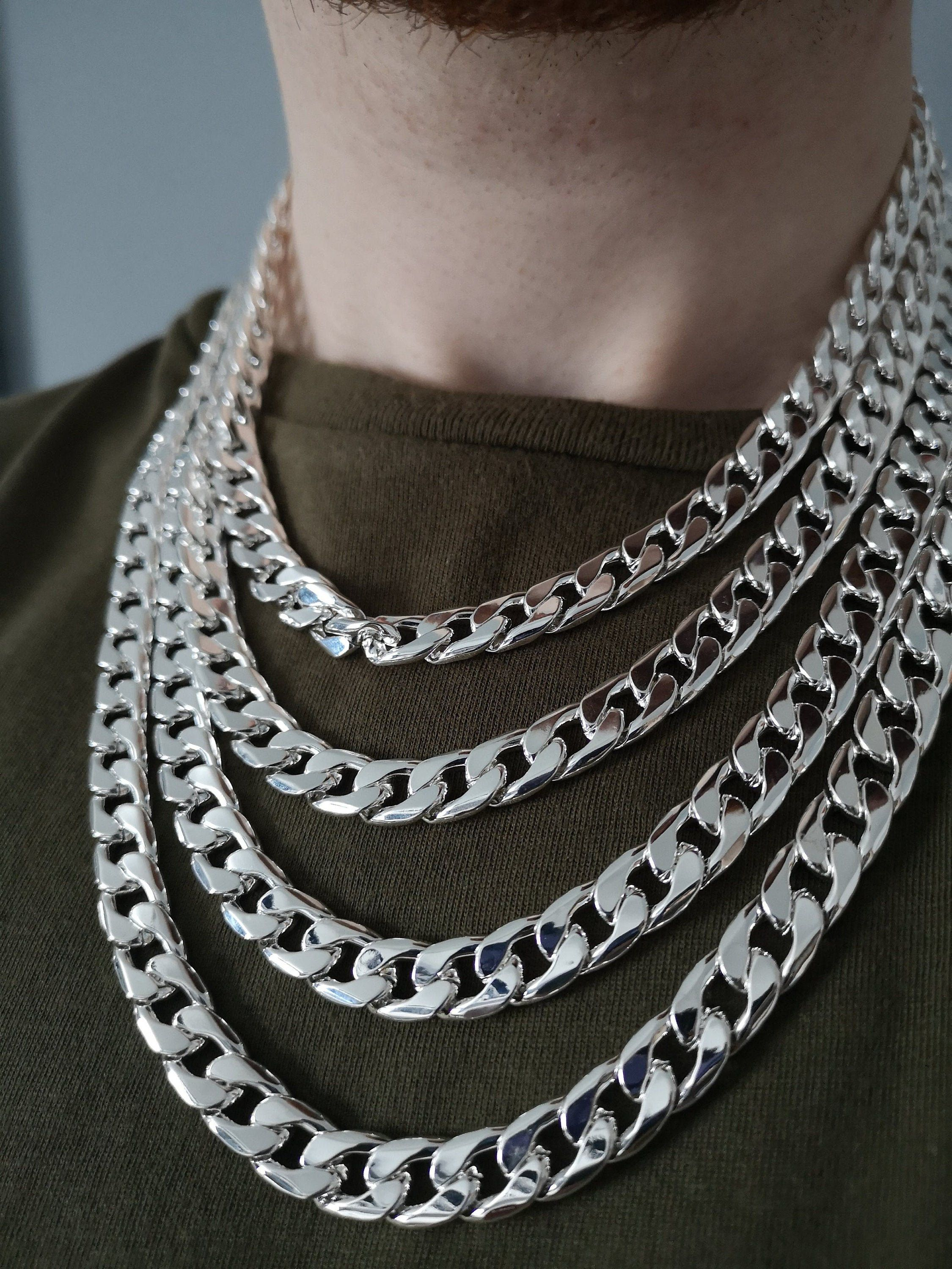 Men S Silver Chain Necklace Cuban Link Chain Cuban Curb Chain Necklace Cuban Necklace For Men Chain Necklace Thick Chain Necklace Mens Silver Chain Necklace Thick Chain Necklace 18k Gold Chain