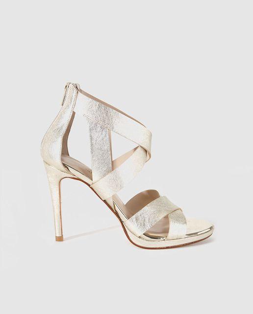 Sandalias plata corte brillo tacones para las mujeres ChgWuBp