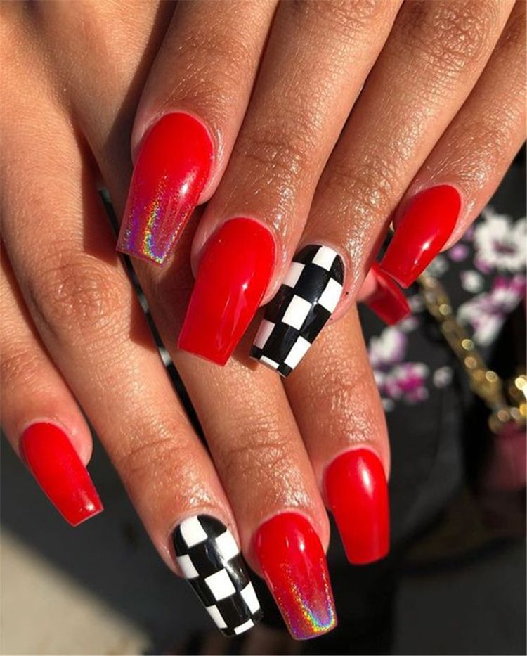30 Red Glitter Coffin Nails For Winter Makeup Inspiration Checkered Nails Nails Red Acrylic Nails