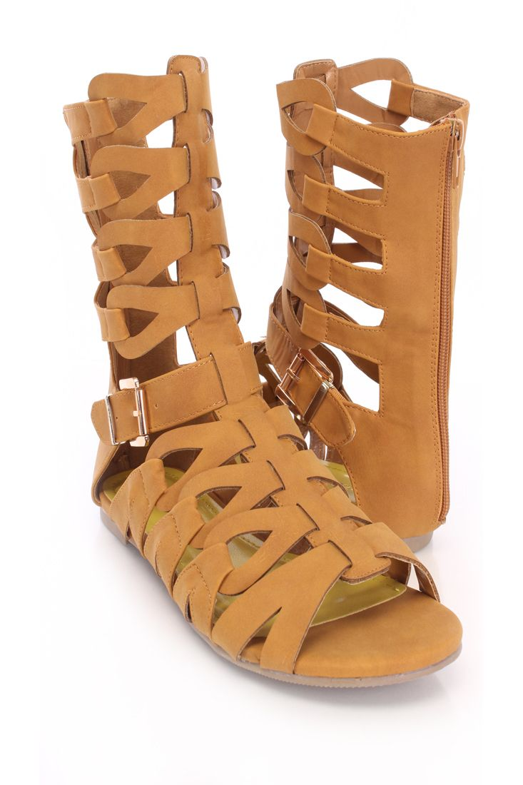 Tan Gladiator Sandals Faux Leather