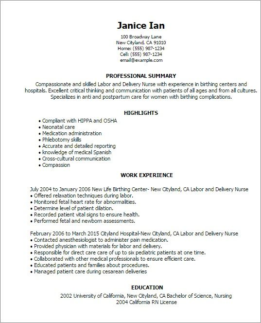 Labor And Delivery Nurse Description Sample Resume Examples Of