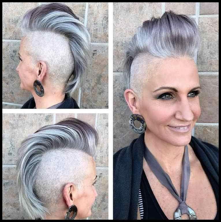Irokesenschnitt Für Frauen Graue Haare Modern Trendig Hairstyles