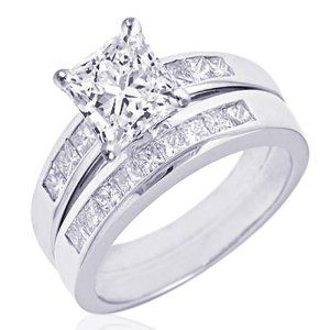 150 ct princess cut diamond engagement wedding rings channel set 14k gold - Princess Cut Wedding Ring Set