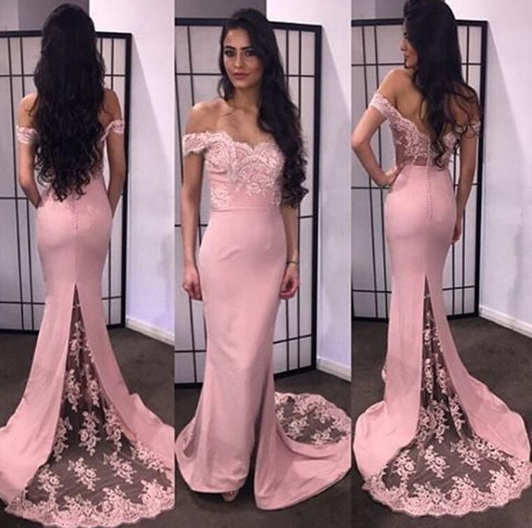 Pretty Off Shoulder Chiffon Burgundy Prom Dresses With Lace, Evening ...