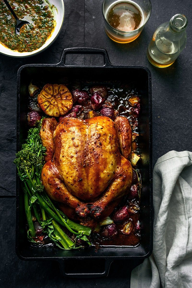Beer Roasted Chicken with Chipotle Chimichurri